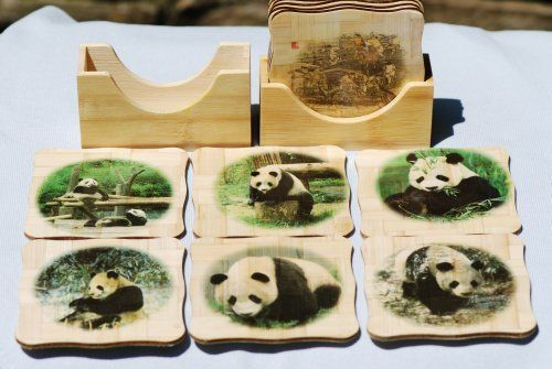 Bamboo Coaster - Pandas by ChinaExposure. $9.95. These unique and elegant coasters are made of bamboo. They are great to decorate your table.  6 Coasters with one holder, 4'' x 4''