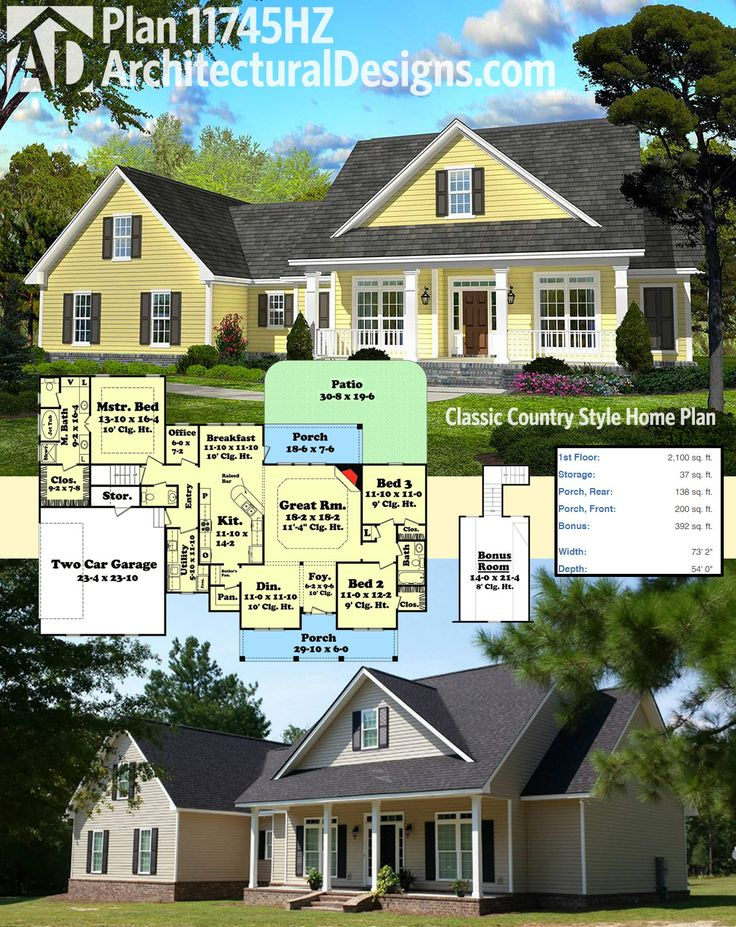 Architectural Designs 3 Bed Classic Country Style House Plan 11745HZ as designed on top and built below. 2,100 square feet of heated living space. Ready when you are. Where do YOU want to build?