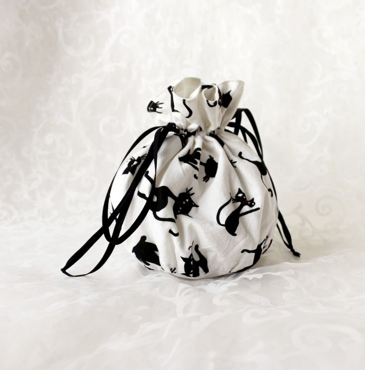 White with black cats pompadour purse evening handbag wristlet drawstring reticule by AlicesLittleRabbit on Etsy