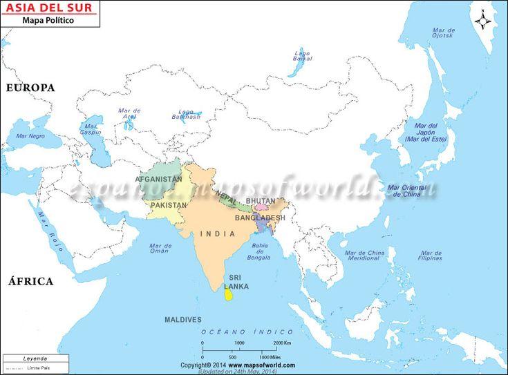 Mapa del Sur de Asia