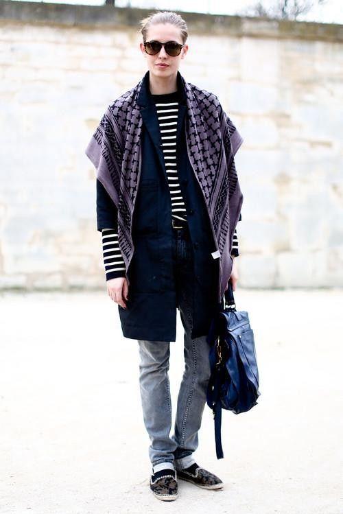 scarf stripes + slippers. #NadjaBender #offduty in Paris.