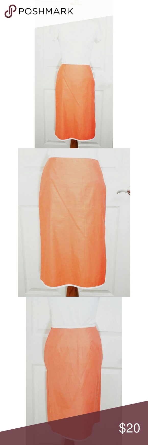"""Banana Republic PEACE ORANGE Skirt Size 0 NEW *New With Tag* Banana Republic skirt in Peace/Salmon/Orange color. White trim. Side hidden zipper.   Shell: 53% Polyester, 47% Cotton. No lining.   Waist: 12.5"""" Length: 23"""" Size: 0  Hand wash cold. Line dry. Warm iron. RP$58.00. Perfect for gift or present. Banana Republic Skirts"""