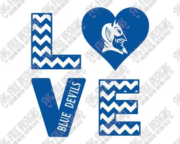 5d5cf92a387 Duke University Blue Devils Chevron Love Block SVG Cut File Set ...