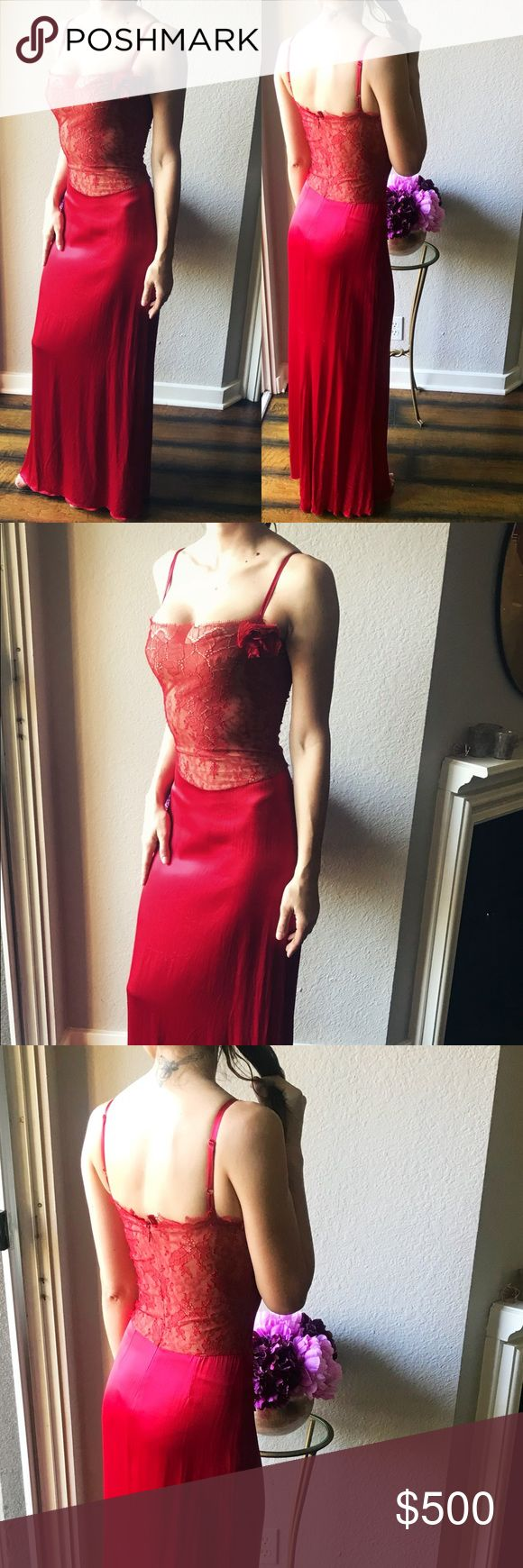 """Ruby Red Satin Gown with Lace Long ruby red dress with lace bodice and satin skirt. It has a built in bra. The dress says it is size 1. I would say that is equivalent to size small. I would recommend it for bra sizes 32 and 34 unto C cup. Hidden back zipper. This dress was used once. Length is approx 54"""" without straps. Straps are adjustable. I am selling this for a friend so I can't do trades. Dresses Maxi"""