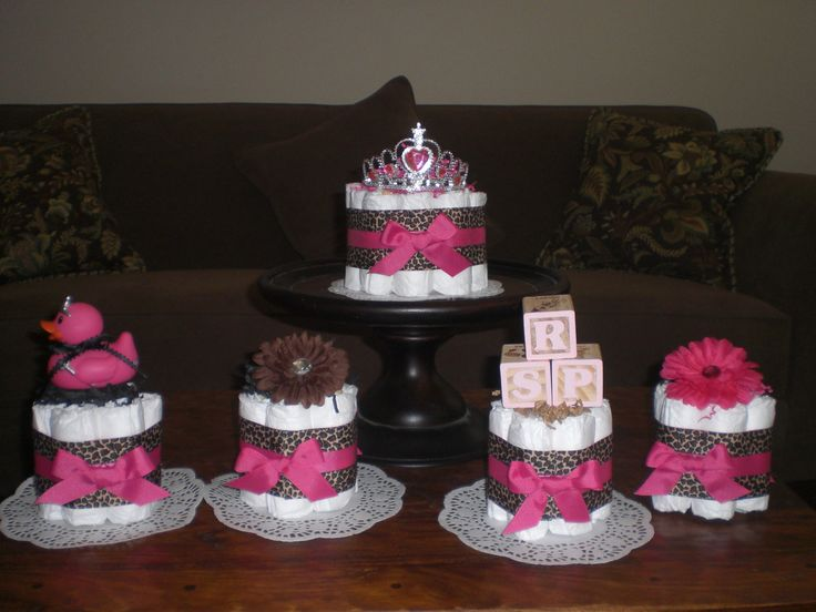 Leopard Or Cheetah Diaper Cake Baby Shower Centerpieces Hot Pink Other  Colors And Sizes Available Too