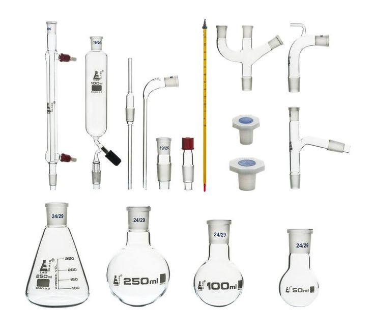 Eisco Labs Advanced Organic Chemistry Distillation Glassware Set, 17 Piece, 22 Interchangeable Fittings, With Case