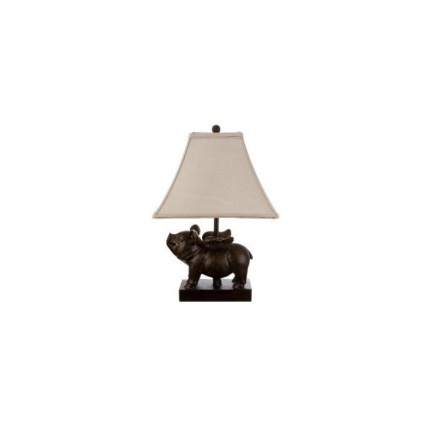 Bronze Flying Pig Table Lamp With Linen Shade Target