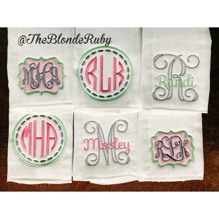 Personalized custom Burp cloths. Baby girl monogrammed burp cloths @TheBlondeRuby