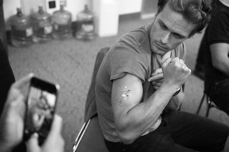 """2,597 Likes, 61 Comments - Sam Heughan (@samheughan) on Instagram: """"@outlander_starz inked up in gold.... Thanks @msayles for the cool photos!"""""""