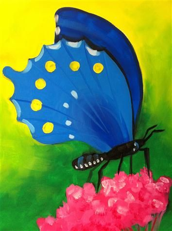 BYOB Painting Class: Blue Butterfly on 3/5/2014 7:00:00 PM - at Paint Until You Faint