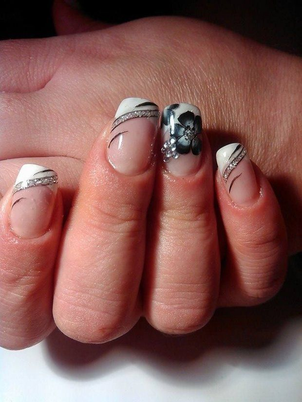 Beautiful nails 2016, Fashion nails 2016, flower nail art, french manicure with a flower, Manicure by summer dress, Modern nails, ring finger nails, Shellac nails 2016