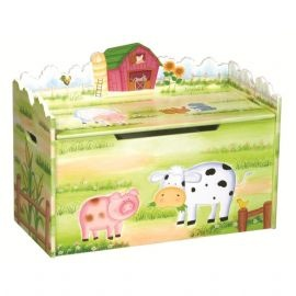 A vividly coloured toy box with a farm theme.  The adorable farm animals, barn and sunflower fields will delight your kids.  This toy box is hand-painted and hand-carved with removable dividers to customise storage.  Safety hinges and cut-outs prevent finger pinches. Comes with durable casters for mobility.    64x83x39cm  Suitable from age 3. Adult assembly required. £139.99