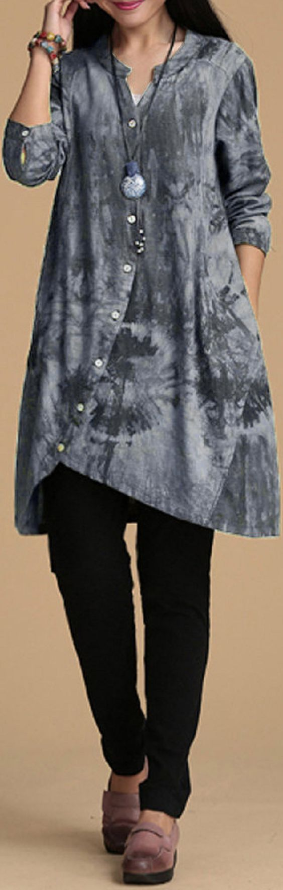 US$22.97 O-NEWE Women Vintage Printing V Neck Button Irregular Blouse