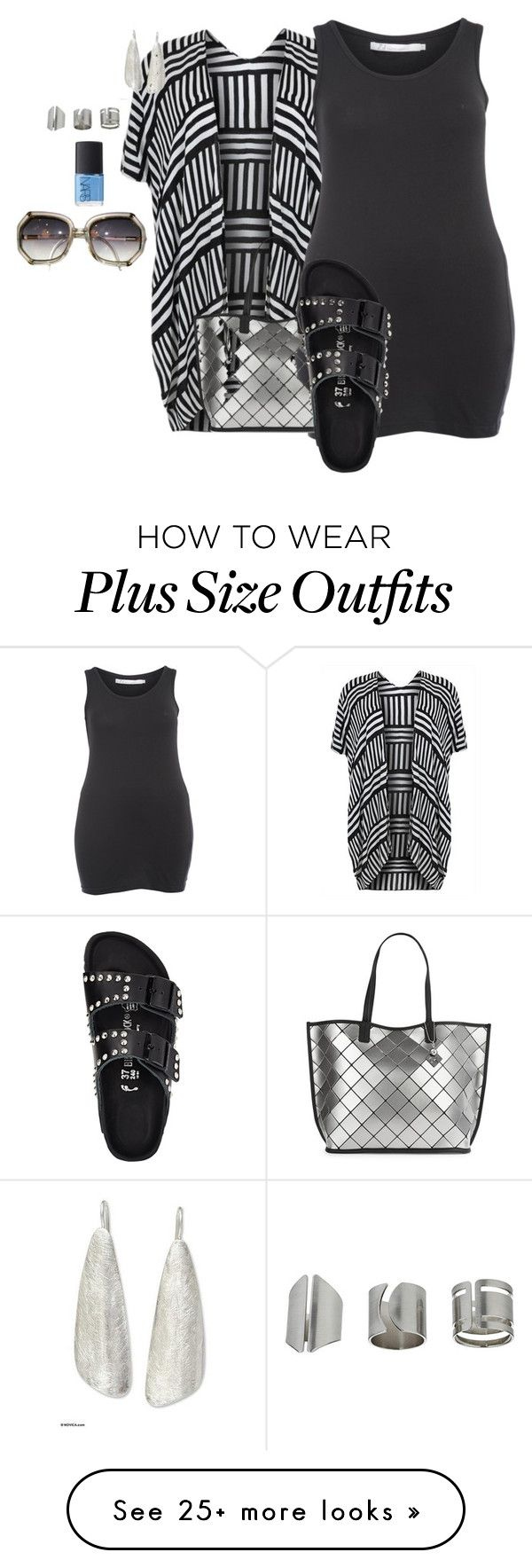 """plus size summer lux"" by kristie-payne on Polyvore featuring ZJ Denim Identity, Calvin Klein, NOVICA, Topshop, NARS Cosmetics and Birkenstock"