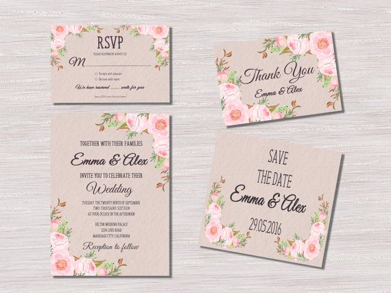 Floral+Wedding+Invitation%2C+Printable+Wedding+Invitation+Suite%2C+Boho+Wedding+Invitation%2C+Watercolor+Flower+Wedding+Invite%2C+Summer+Wedding
