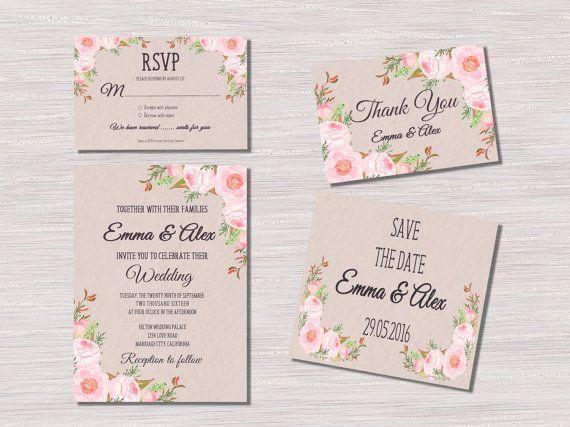 Floral+Wedding+Invitation%2C+Printable+Wedding+Invitation+Suite%2C+Boho+Wedding+Invitation%2C+Watercolor+Flower+Wedding+Invite%2C+Summer+Wedding