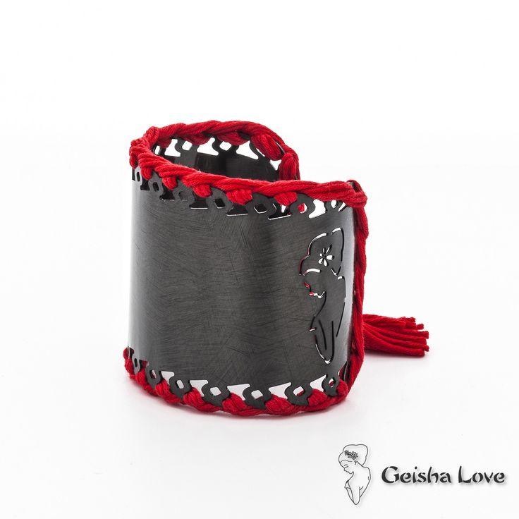 """""""Amor"""" bracelets collection AMOR BANGLE BRACELET BLACK, RED COTTON SPUN"""