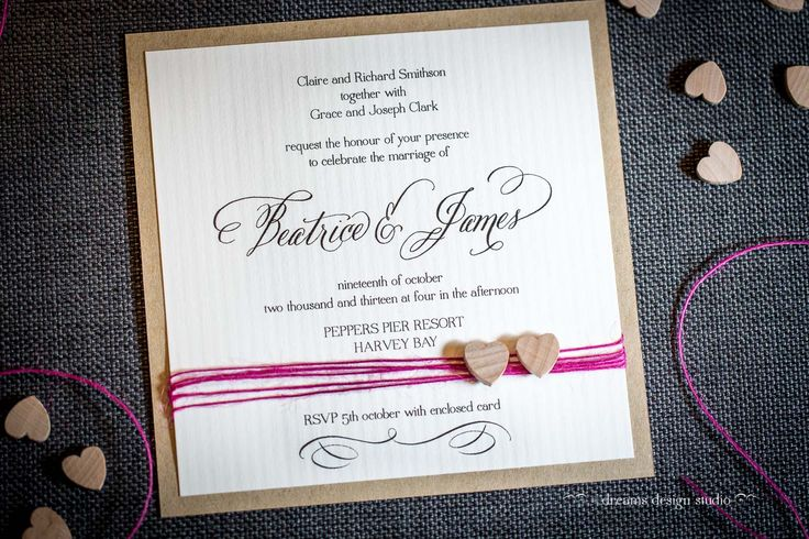 'Rustic Charm'.... make my heart skip a beat... with your hot pink rope and your solid timber hearts... Wedding invitation for a rustic wedding