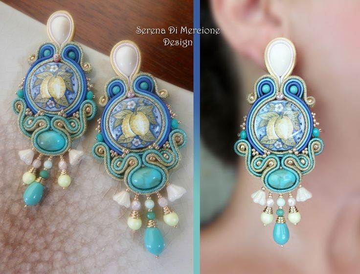 """I siciliani"" collection; Soutache Earrings by Serena Di Mercione. --- maiolica - sicilia - lemon"