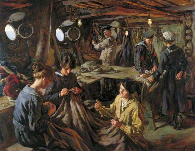 Women's Royal Naval Service Ratings Sail-Making: Onboard HMS 'Essex' at Devonport 1918 by Stanhope Alexander Forbes