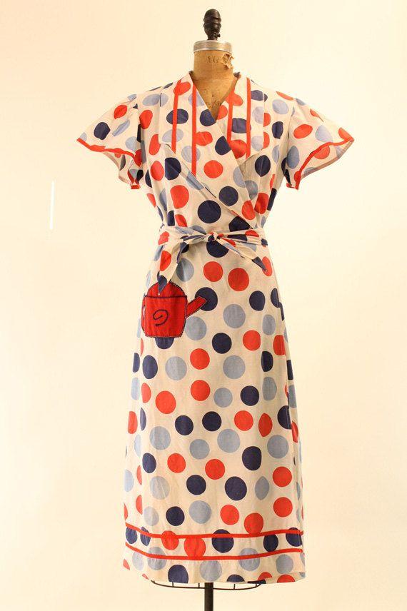 50's Dress ML  / Teapot Polka Dot Cotton Wrap by CrushVintage, $82.00