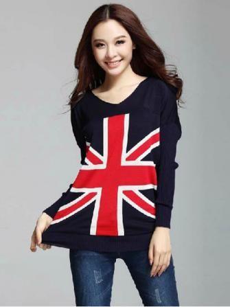 Loose Bat Shirt British Union Jack Sweater  Honora would love this!