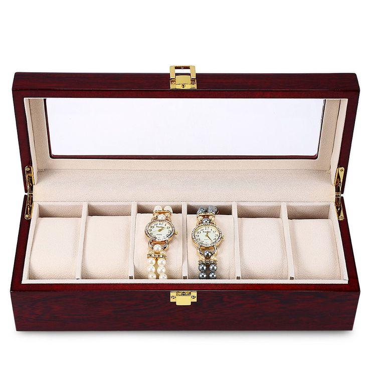 High Quality 6 Slots Luxury Wood Watch Display Case Box