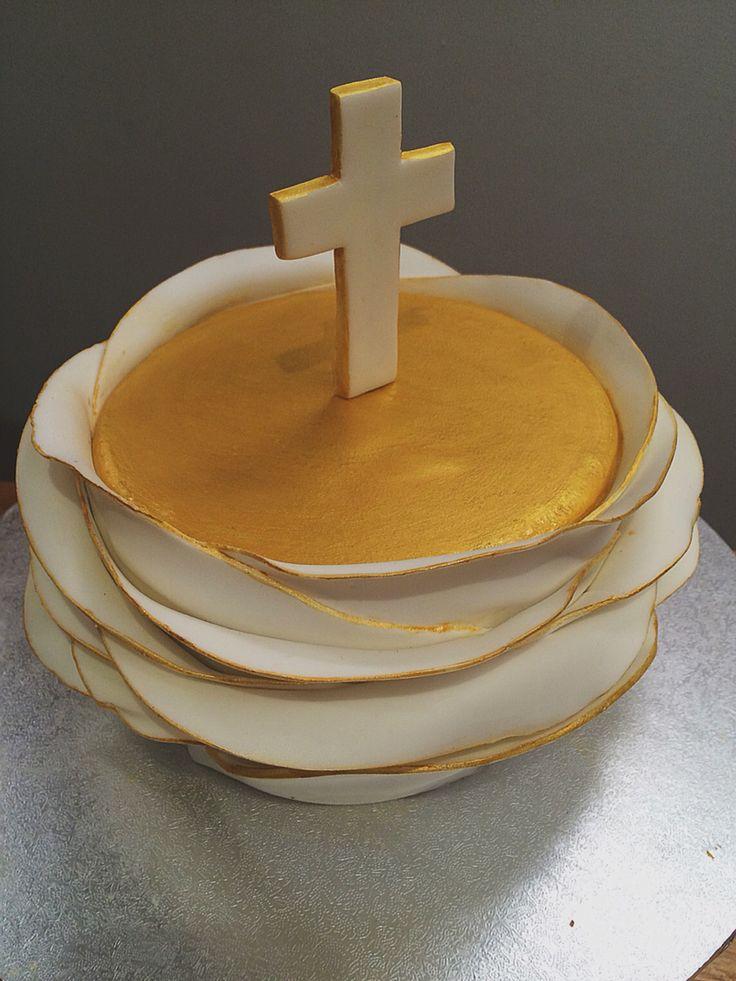 Communion cake. Crucifix.