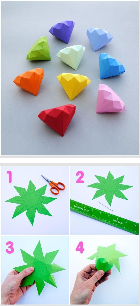 3D Paper Diamonds