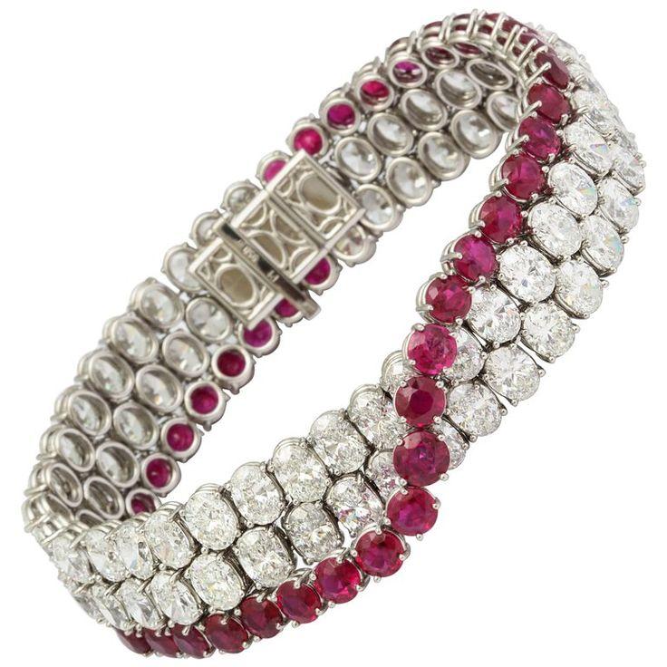 Natural No Heat Burmese Ruby and Diamond Bracelet | From a unique collection of vintage modern-bracelets at https://www.1stdibs.com/jewelry/bracelets/modern-bracelets/