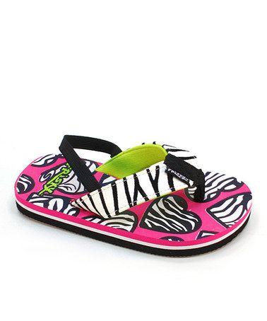 Fuchsia & Black Zebra Hearts Sandal by Frisky Shoes #zulilyfinds