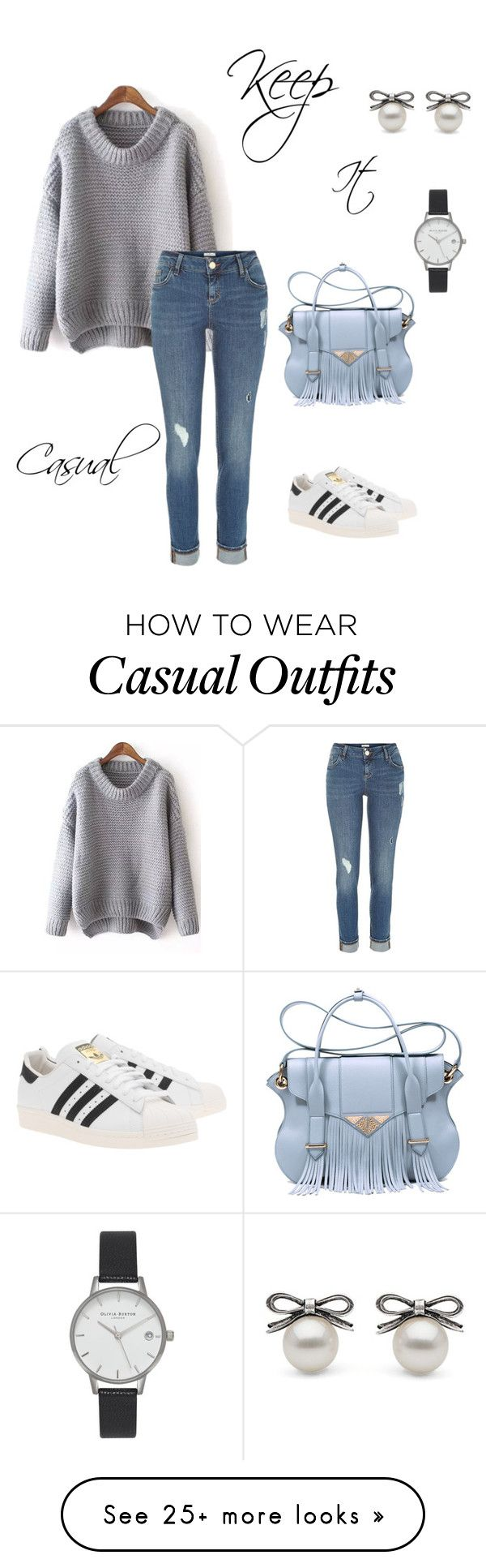 """""""Keep It Casual"""" by jessica-skye-1 on Polyvore featuring River Island, Ella Rabener, Olivia Burton and adidas Originals"""