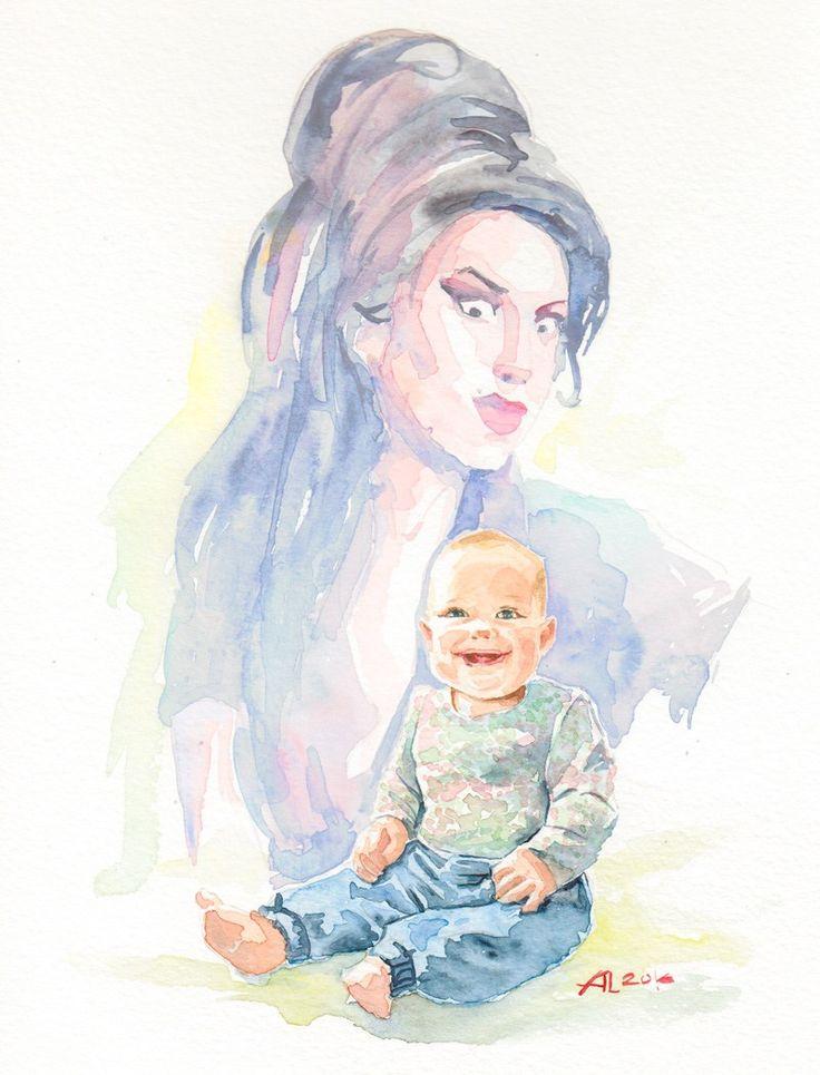 Niemowlak siedzi i śmieje się, za nim widać Amy Winehouse.