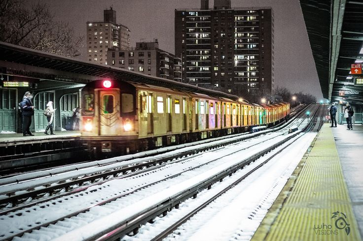 """Who Shot Ya #19  Winters at Pelham Prkwy Station  """"The 2 train heads downtown towards Manhattan treading over the snow covered tracks.""""  Photography by Superdave Houdini © 2014 Who Visions"""