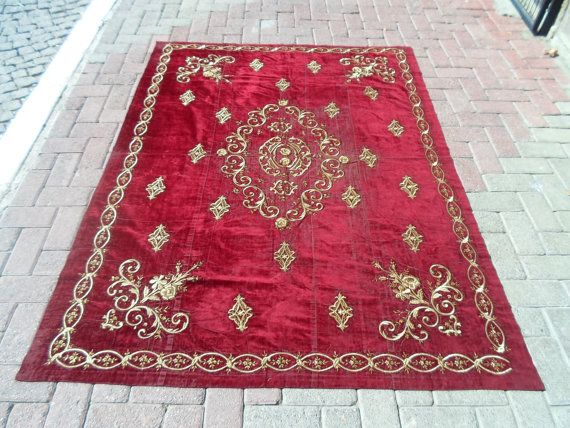 """VintageTurkish antique Ottoman  hand embroidered velvet bedspreads or duvet cover. 73.6"""" by 55.1"""" inches    (187cm by 140cm)"""