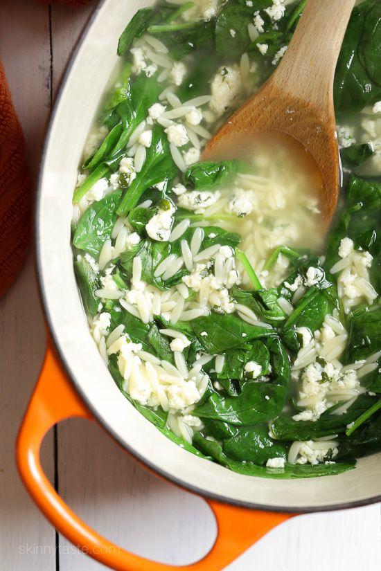 Spinach Stracciatella Soup with Orzo   Skinnytaste