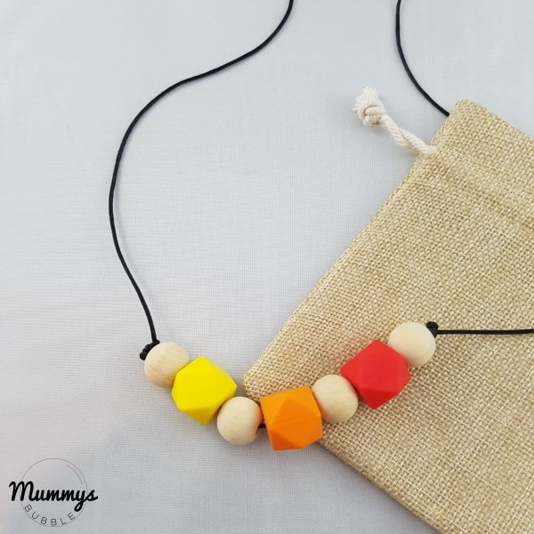 ***** I just received my Ella Teething necklace and I love it! The colours are bright and it's really tactile. My little girl loves it even though it's not for us as it's a gift!!  Review by Mummys Bubble Customer