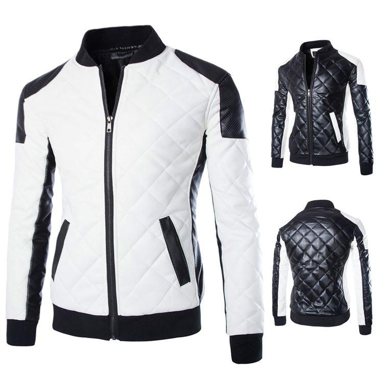 RIPBLINK New Design Men's Jacket Winter&Autumn PU Leather Black&White Fashion Slim Plaid Jacket For Man Size M-5xl Coat A064