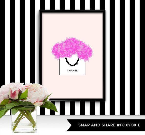 Pink Peonies in Chanel Shopping Bag Watercolor Digital