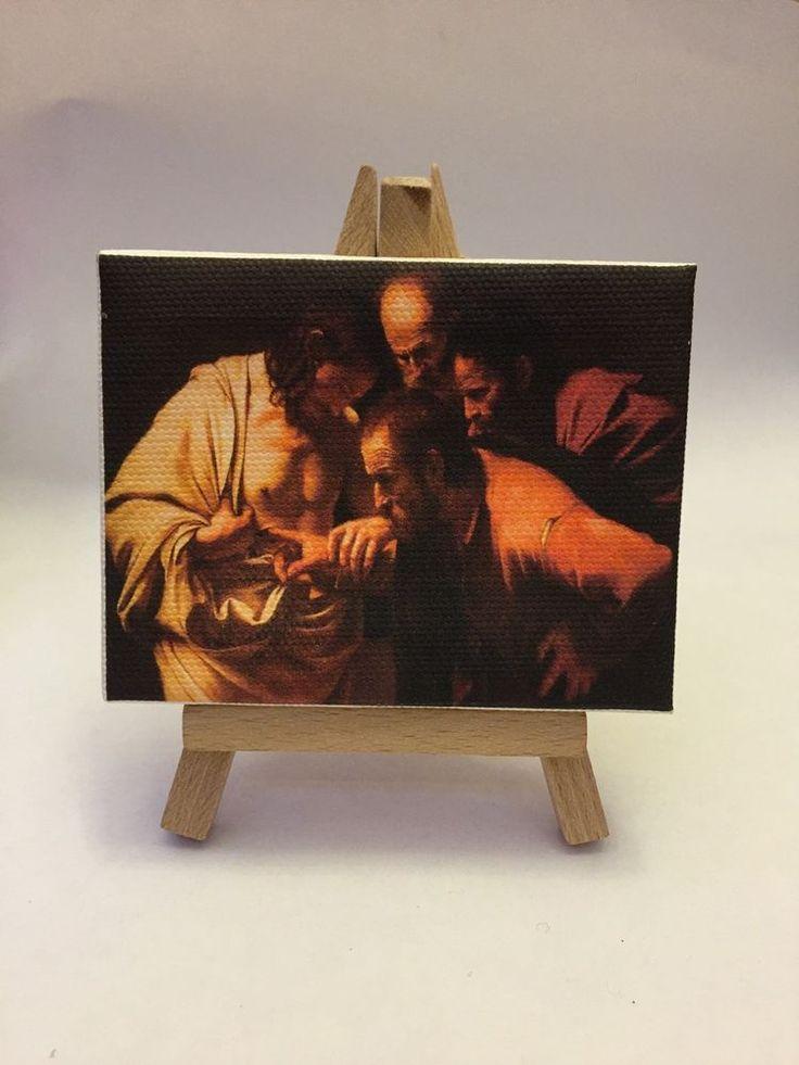 Miniatura Quadro 9x7 Cm Caravaggio   Incredulità Di San Tommaso  Su Cavalletto