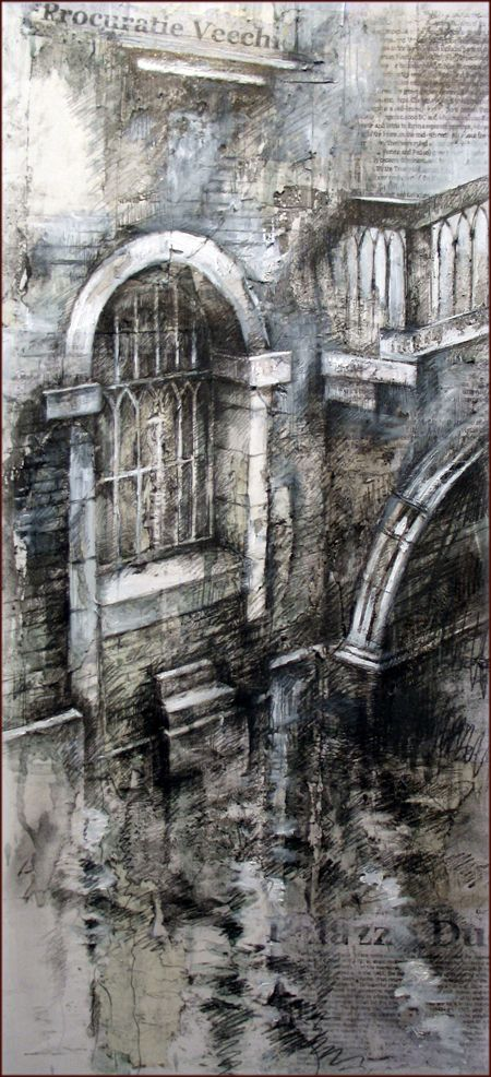 Ian Murphy Artist Link. Drawing on to interesting surfaces including wallpaper, newspaper etc