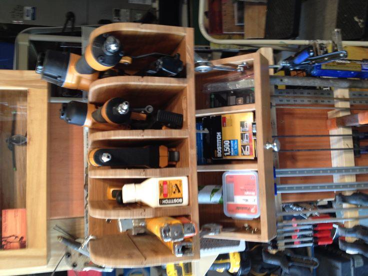 Nail gun shelf w/flip down nail storage compartment ...