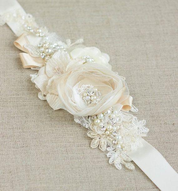 Champagne Ivory Bridal sash wedding belt narrow by LeFlowers, $92.00