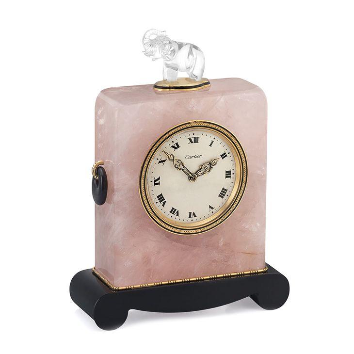 An Art Deco Rock Crystal Quartz And Onyx Elephant Clock