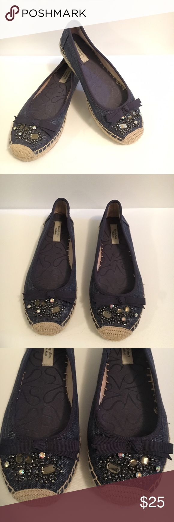 Simply Vera Beaded Espadrille Flats Simply Vera by Vera Wang navy blue espadrille Flats with Beaded detailing and bow at toe. Simply Vera Vera Wang Shoes Flats & Loafers