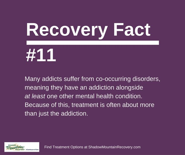 Many addicts suffer from co-occurring disorders, meaning they have an addiction alongside at least one other mental health condition. Because of this, treatment is often about more than just the addiction. RecoveryFacts #KnowTheFacts ○○○ #ShadowMountainRecovery #Addiction #Recovery #Rehab #Detox #Aspen #Cascade #ColoradoSprings #Denver #Colorado #Albuquerque #Taos #NewMexico #StGeorge #Utah #RecoveryIsPossible #RecoveryIsWorthIt #WeDoRecover #12Steps #AddictionRecovery #Rehabilitation #Sober