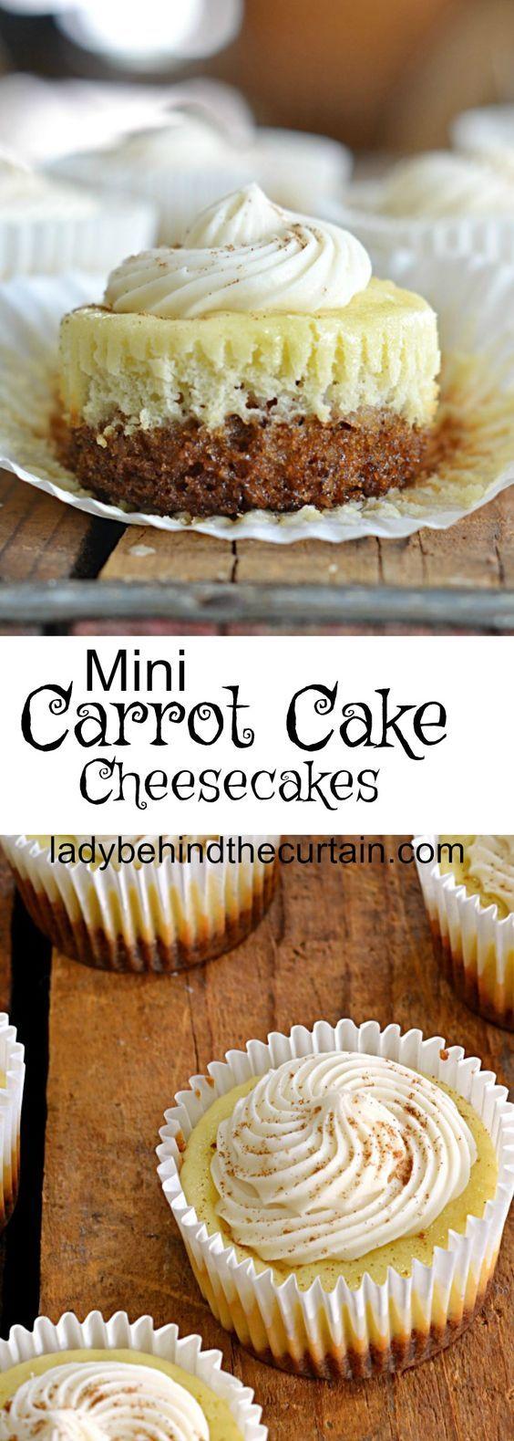 Mini Carrot Cake Cheesecakes | carrot cake, cheesecake, easter dessert, baby shower dessert, bridal shower dessert, easy cheesecake recipe