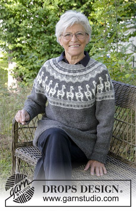 Andean Caravan  - Knitted jumper with round yoke, multi-coloured pattern and A-shape, knitted top down. Sizes S - XXXL. The piece is worked in DROPS Puna. Free knitted pattern DROPS 184-18