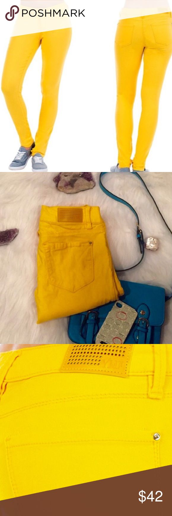 🍋YMI Bright Yellow Skinny Jeans🍋 Brighten your day by wearing these happy bright yellow skinny jeans. One of the most stretchy and comfortable pants on planet earth . Fitted to contour to your body to make you feel like you are wearing super soft and stretchy leggings.  Size small & approx 31 inseam.  Like NEW!  Purchased from local boutique in SLC. YMI Jeans Skinny