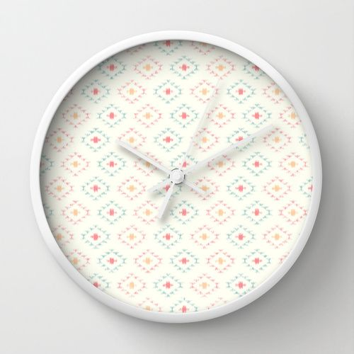 Southwestern Ikat on White Wall Clock by CandyBoxDigital | Society6